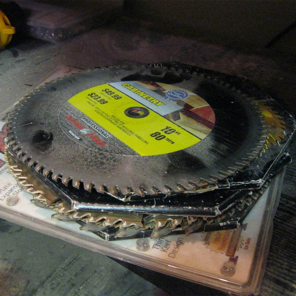 pile of circular saw and table saw blades