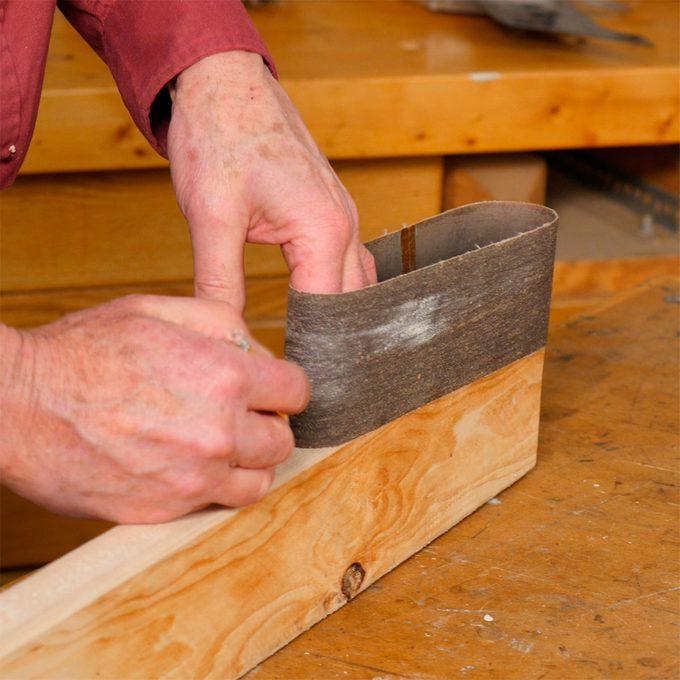 measure belt for belt sander sanding block