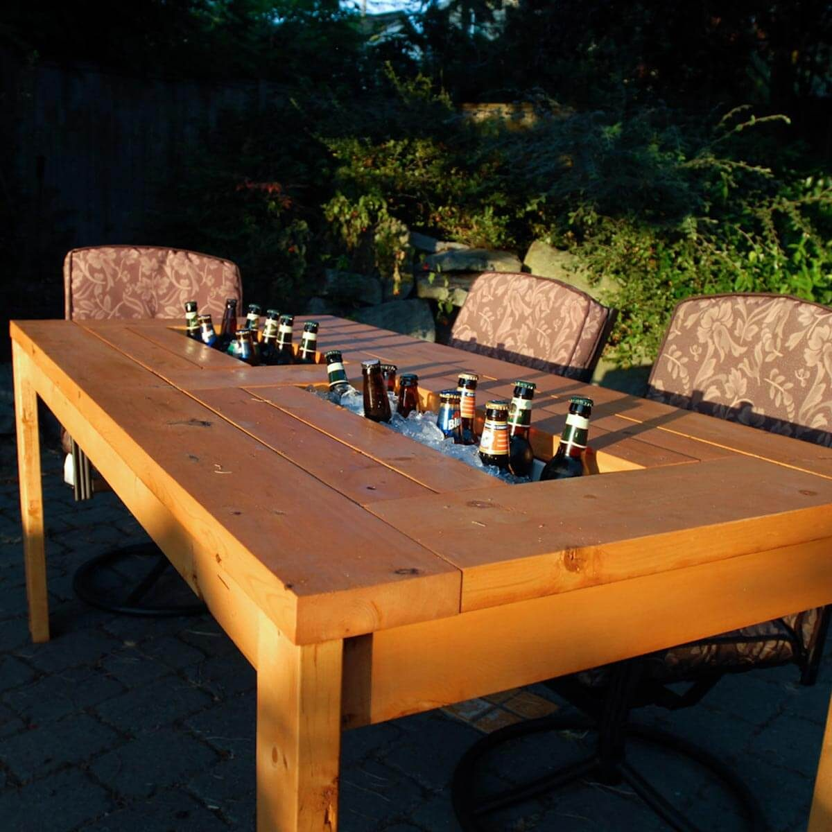 beer chill patio table made from rain gutters