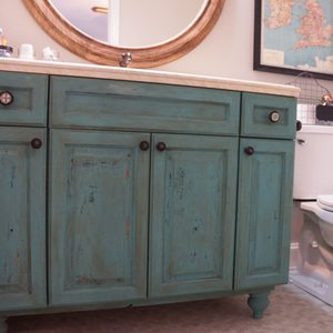 bathroom vanity makeover turqoise