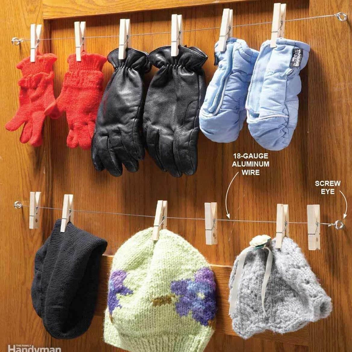 Closet Clothespin Rack