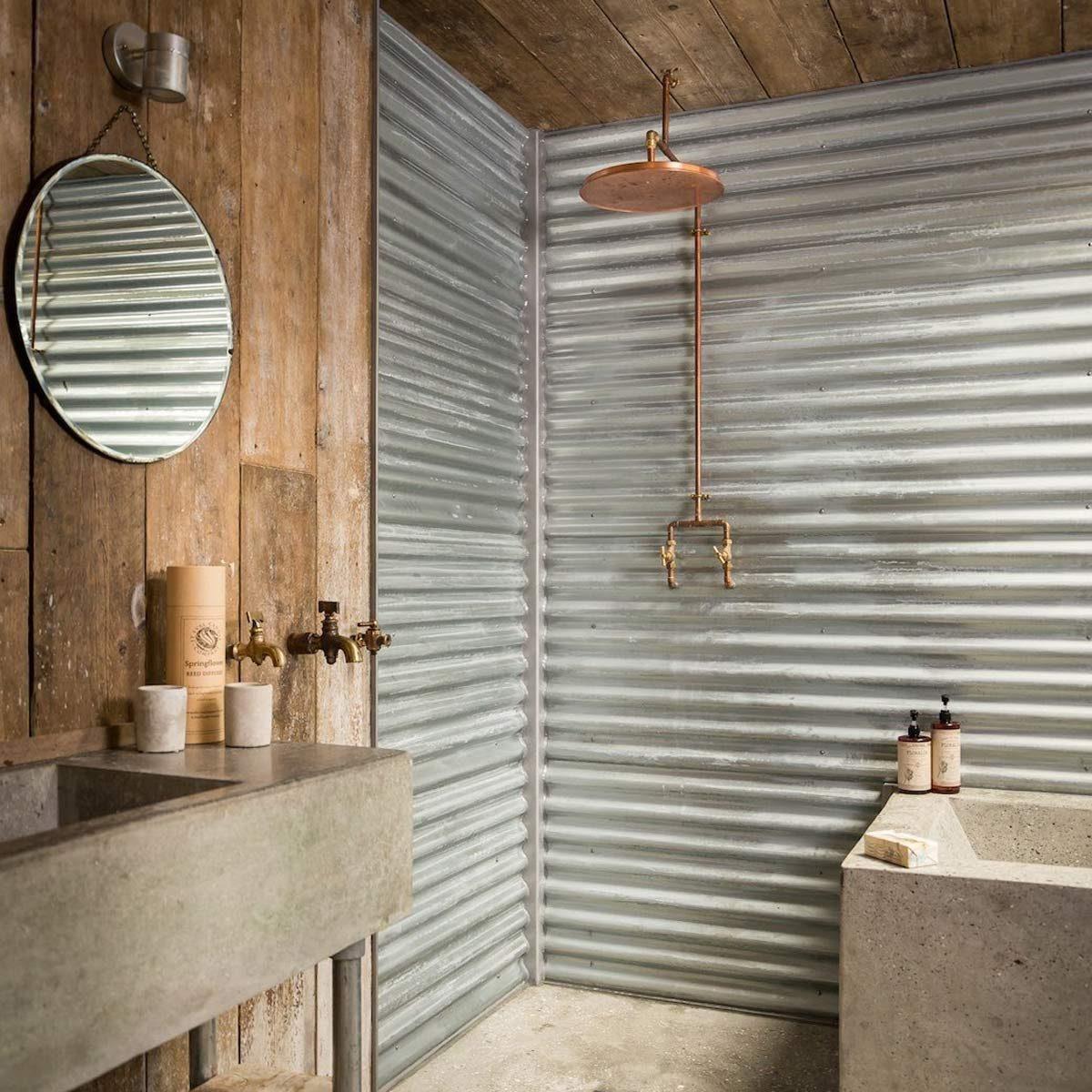 corrugated metal bathroom walls