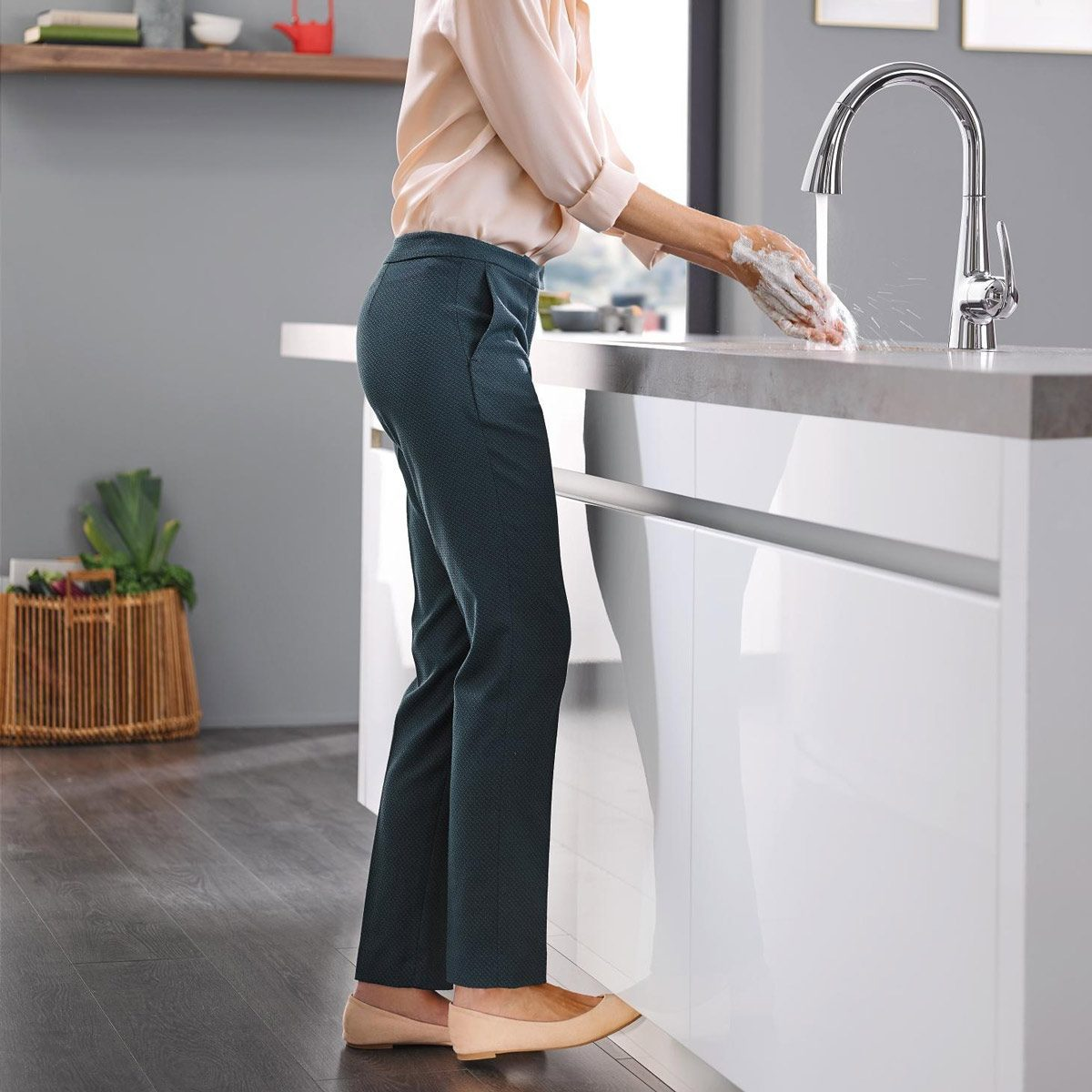 footactivated-faucet sink kitchen