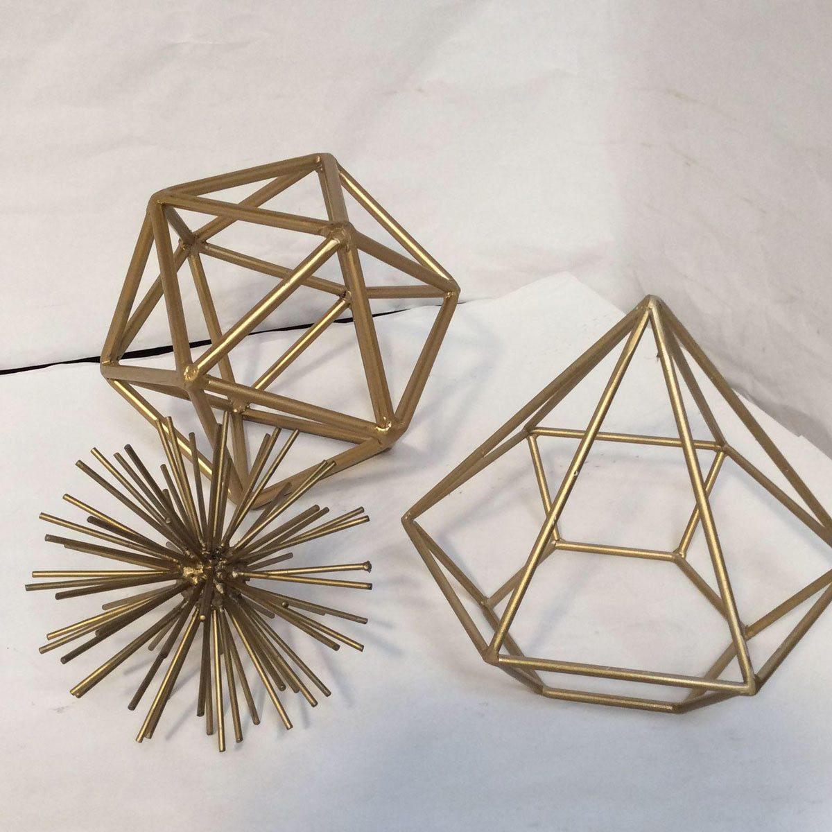 gold metal geometric shapes