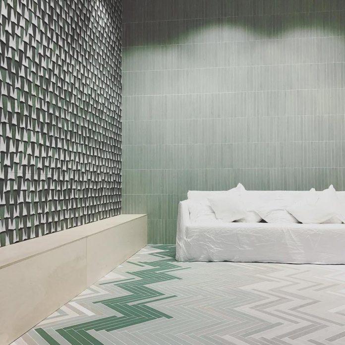 green gray white tile