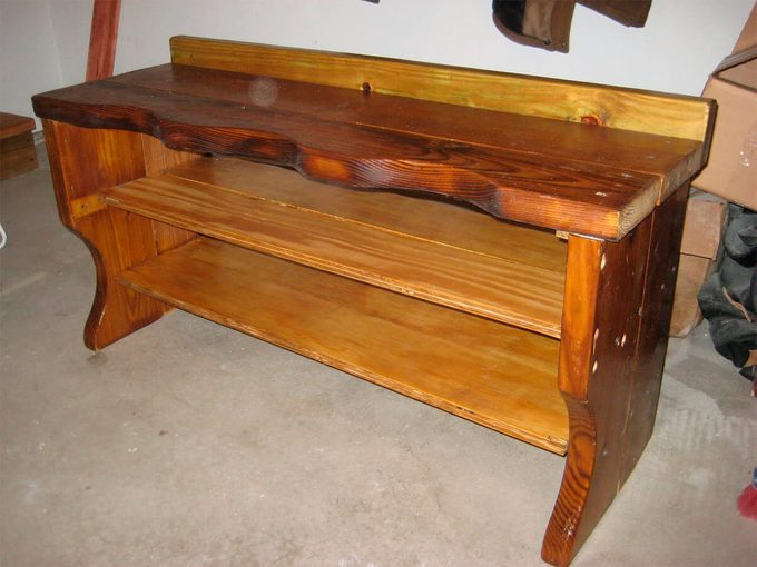 headboard turned into a shoe bench