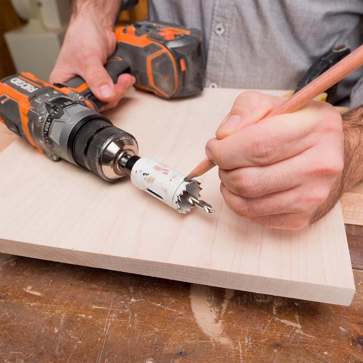 marking hole saw depth of cut