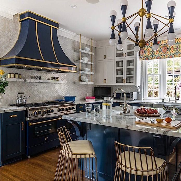 blue cabinets kitchen remodel