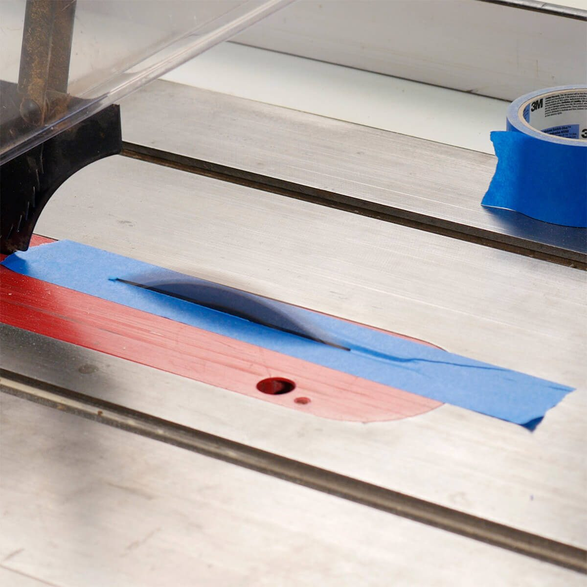 cutting through tape on table saw for narrow strips