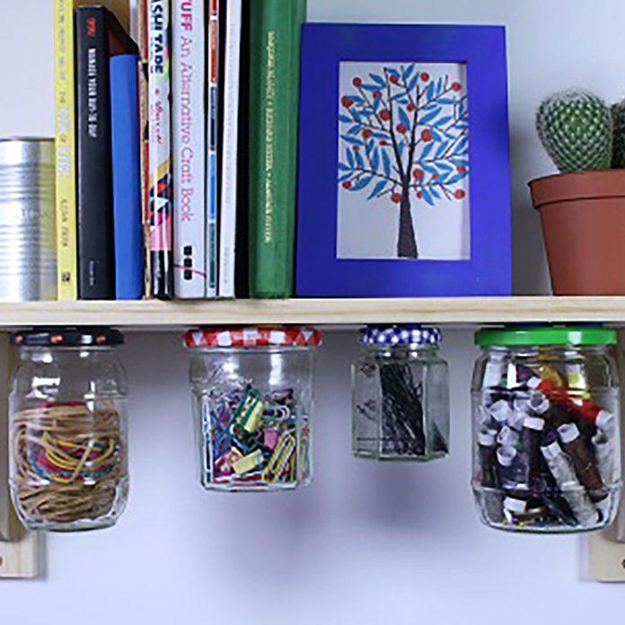 organization desk jars