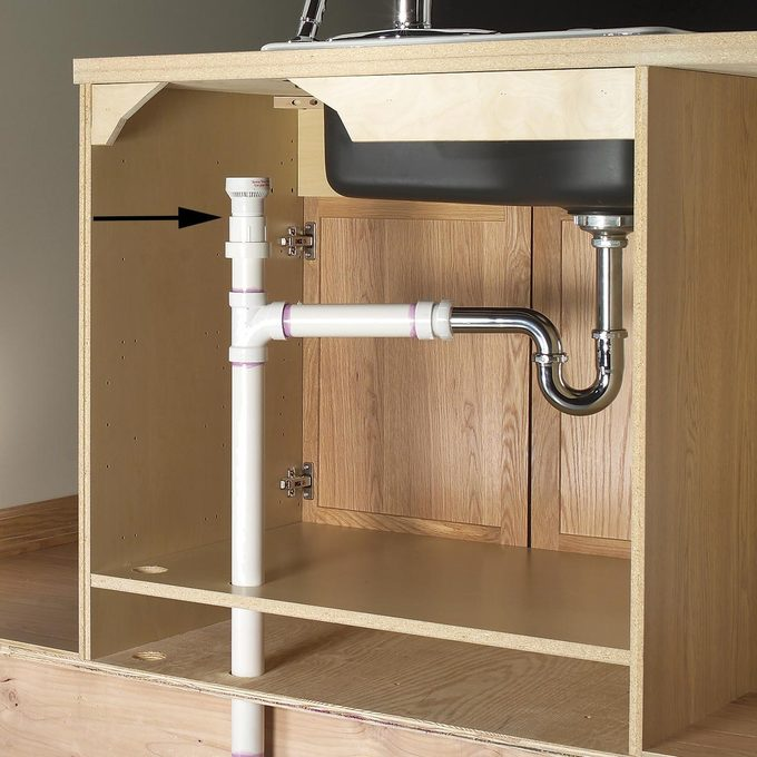 plumbing cutaway under sink