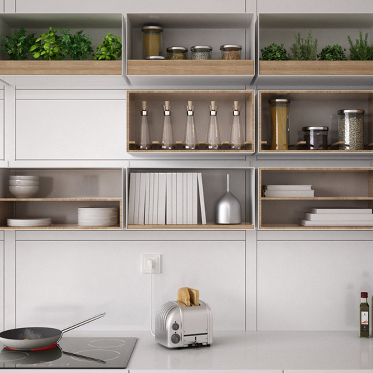 shutterstock_530497795 kitchen open shelving organization