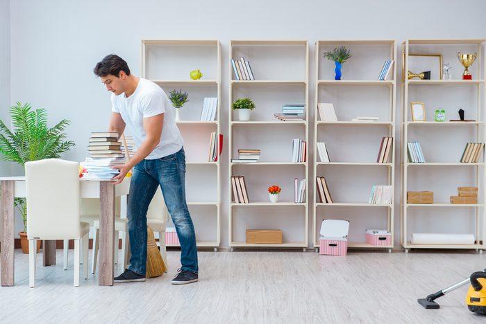 Man organizing
