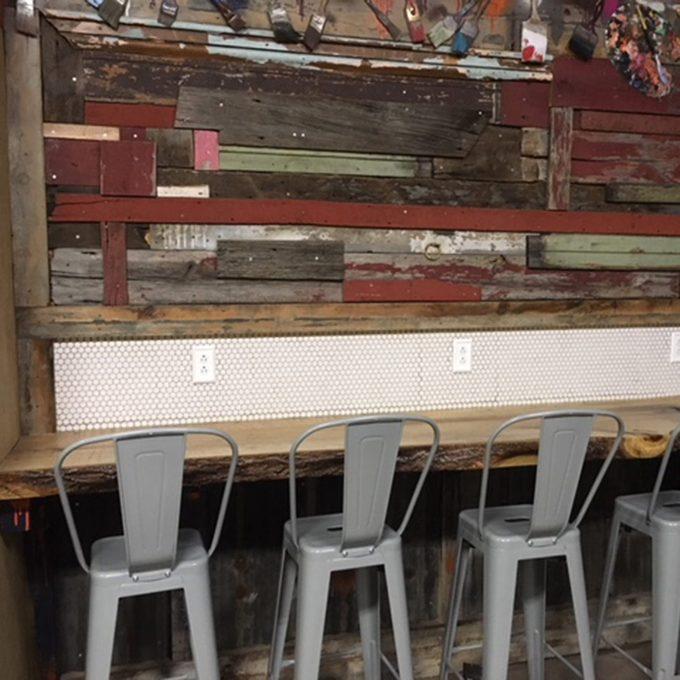 DIY barn wood work station