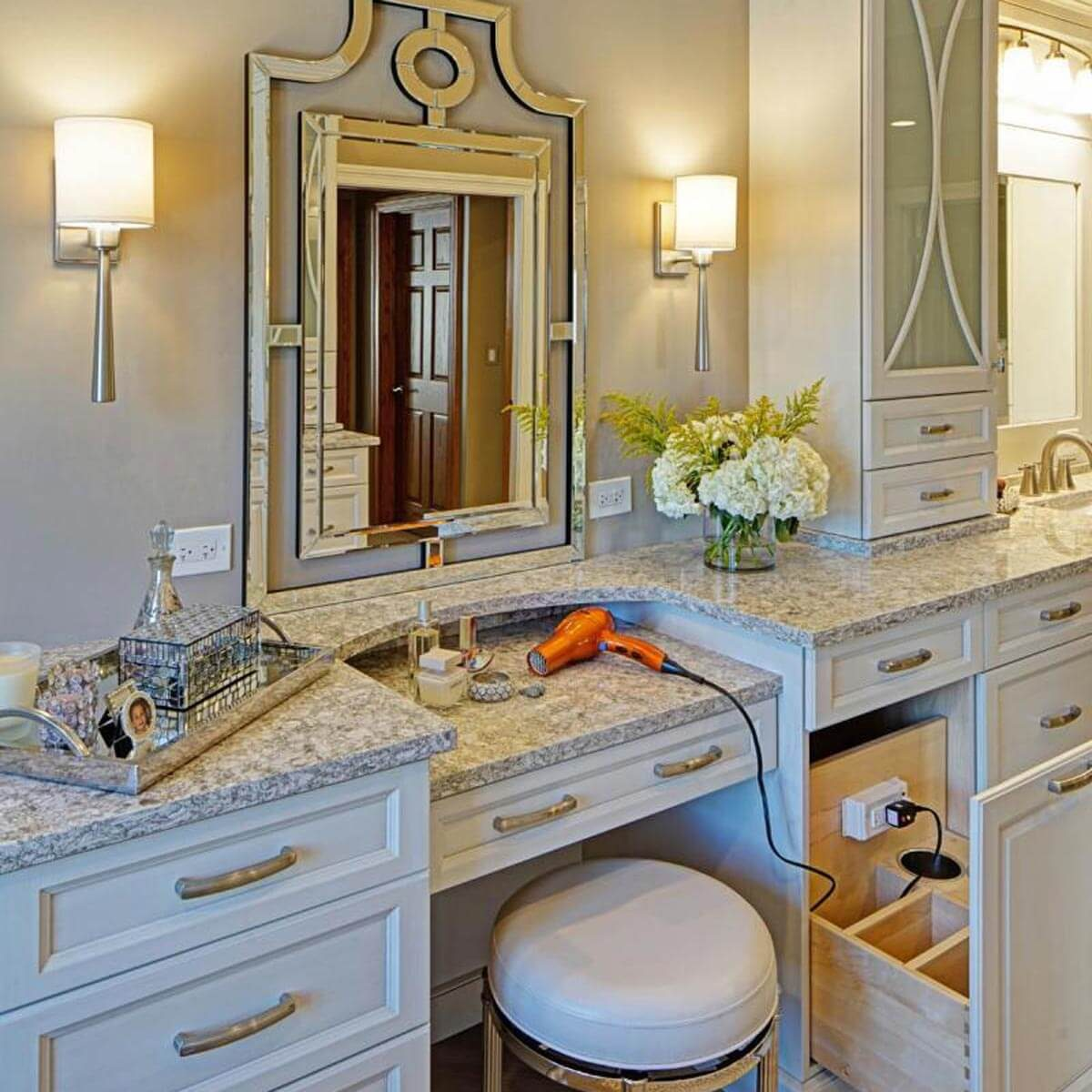 bathroom make-up vanity hidden outlet