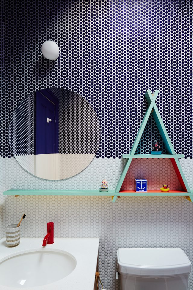 blue and white circle tile in bathroom