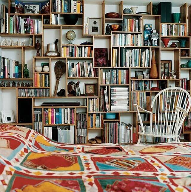 geometric floor-to-ceiling bookcase