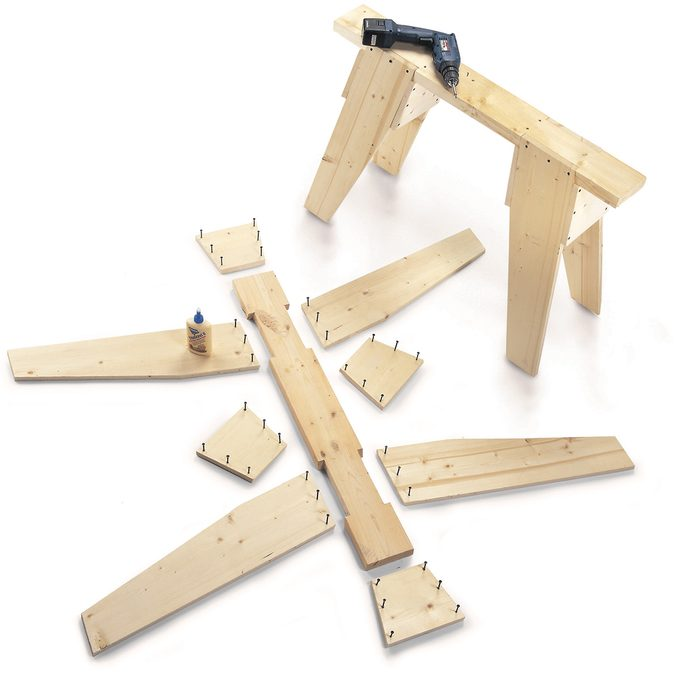 classic sawhorse parts and project