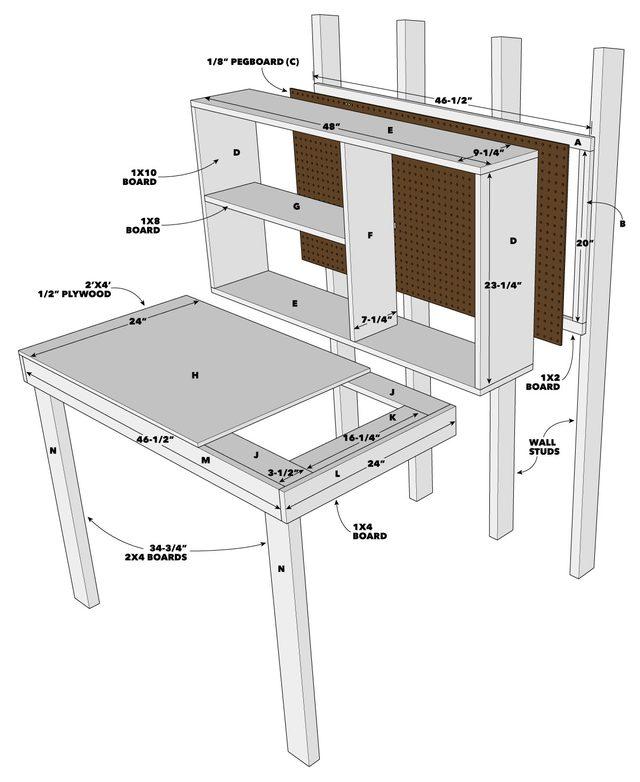 Fold Up Workbench Exploded Tech Art