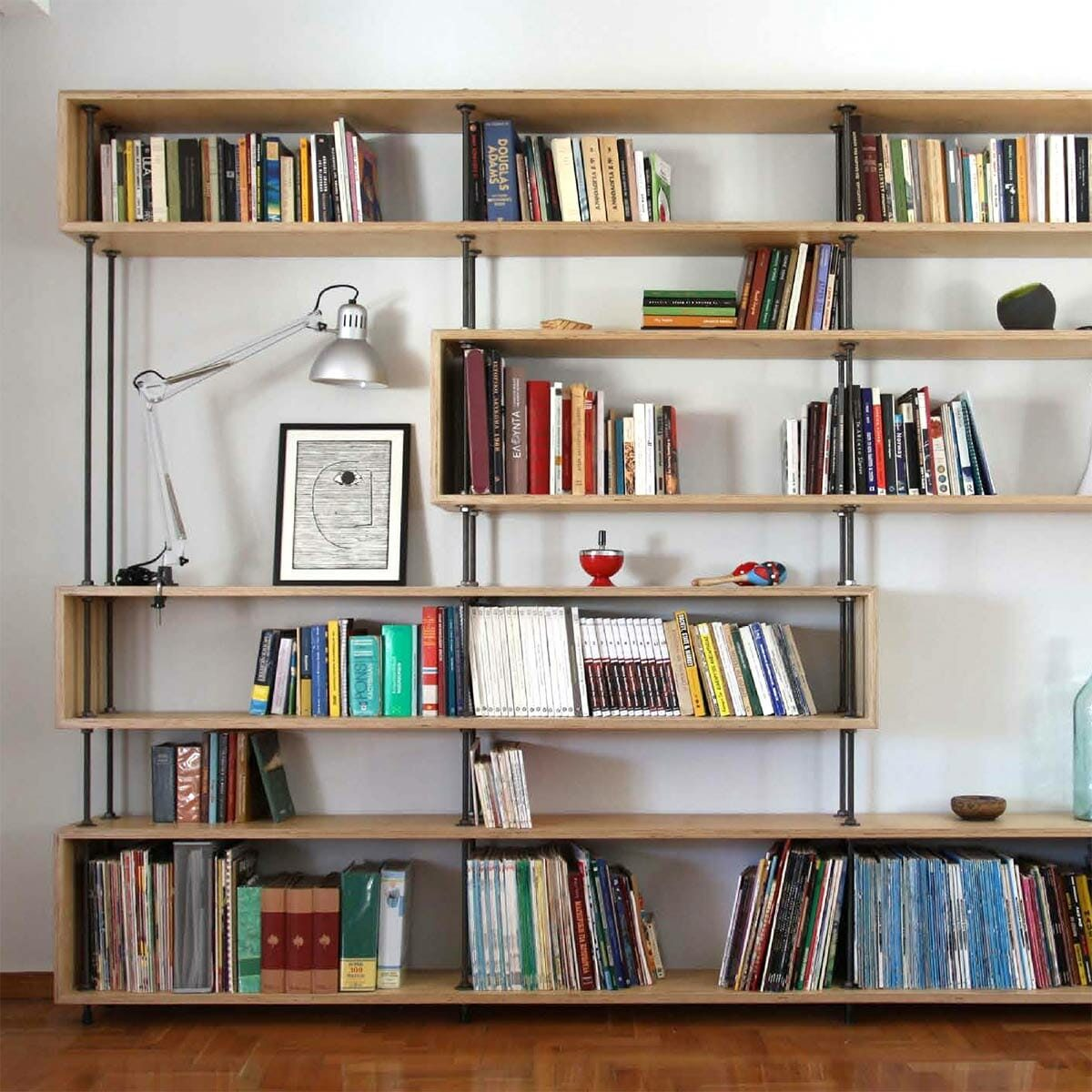 Industrial Pipe-and-Plywood Bookcase
