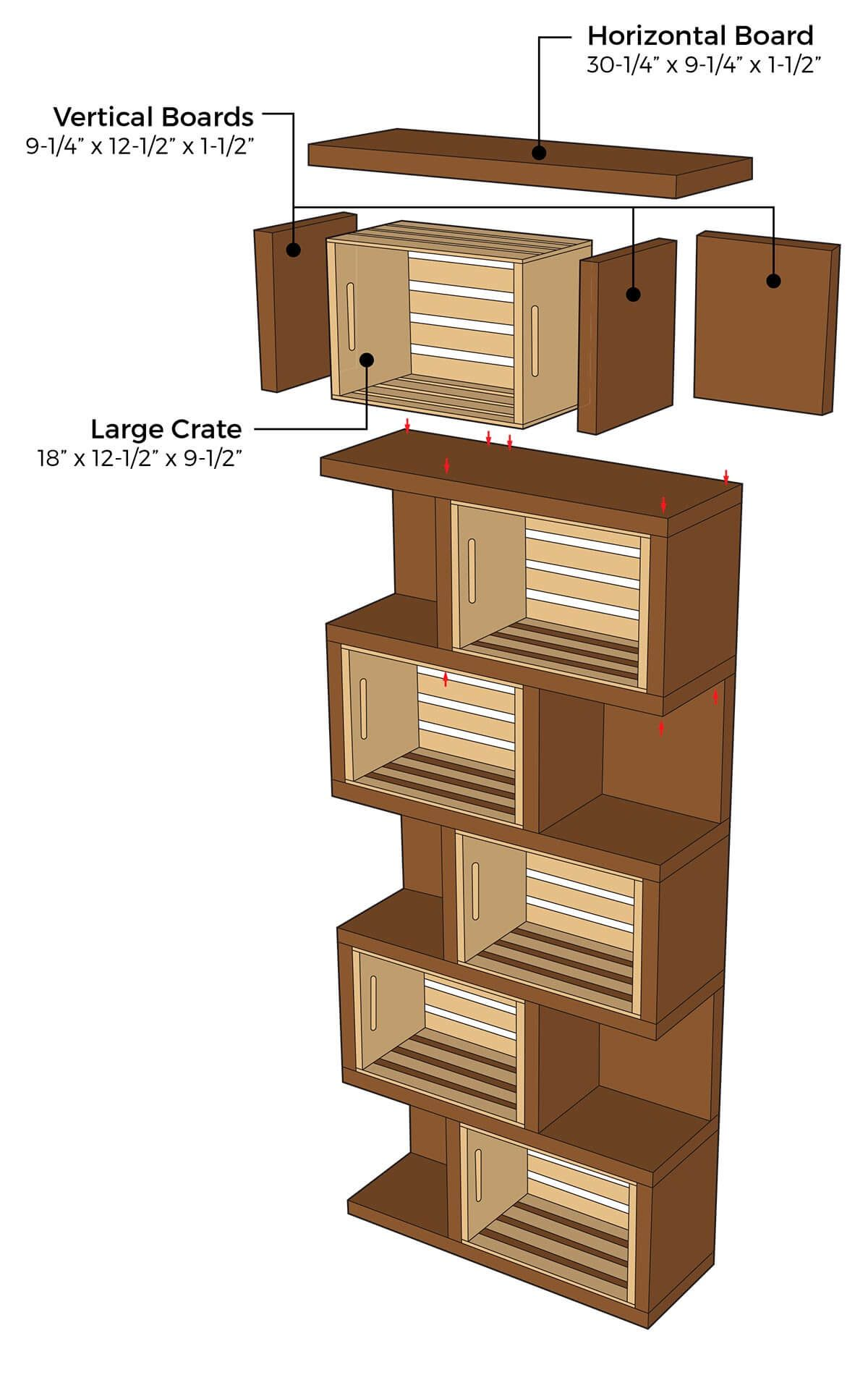 crates and pallet bookcase illustration