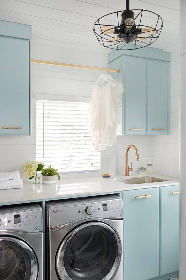 laundry room organization ideas blue cabinets
