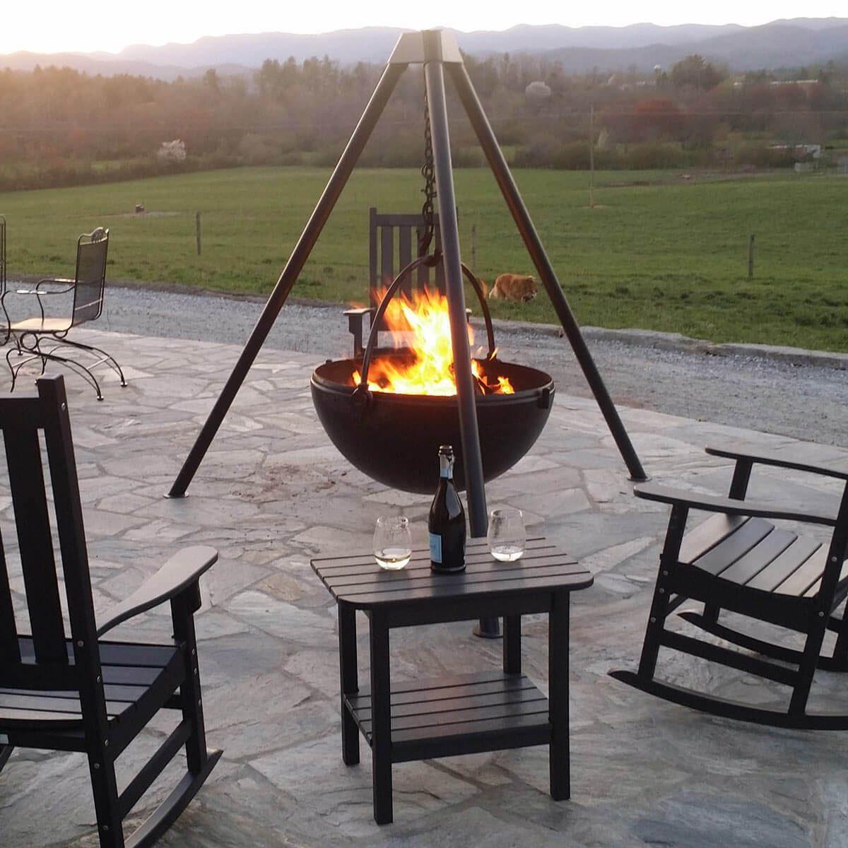 burning cauldron fire pit