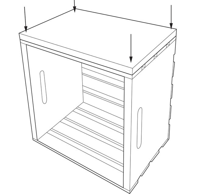 crate end table add base to crate top