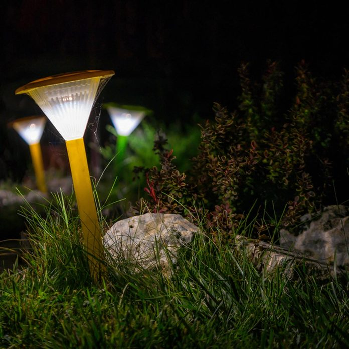 Solar powered outdoor path lights