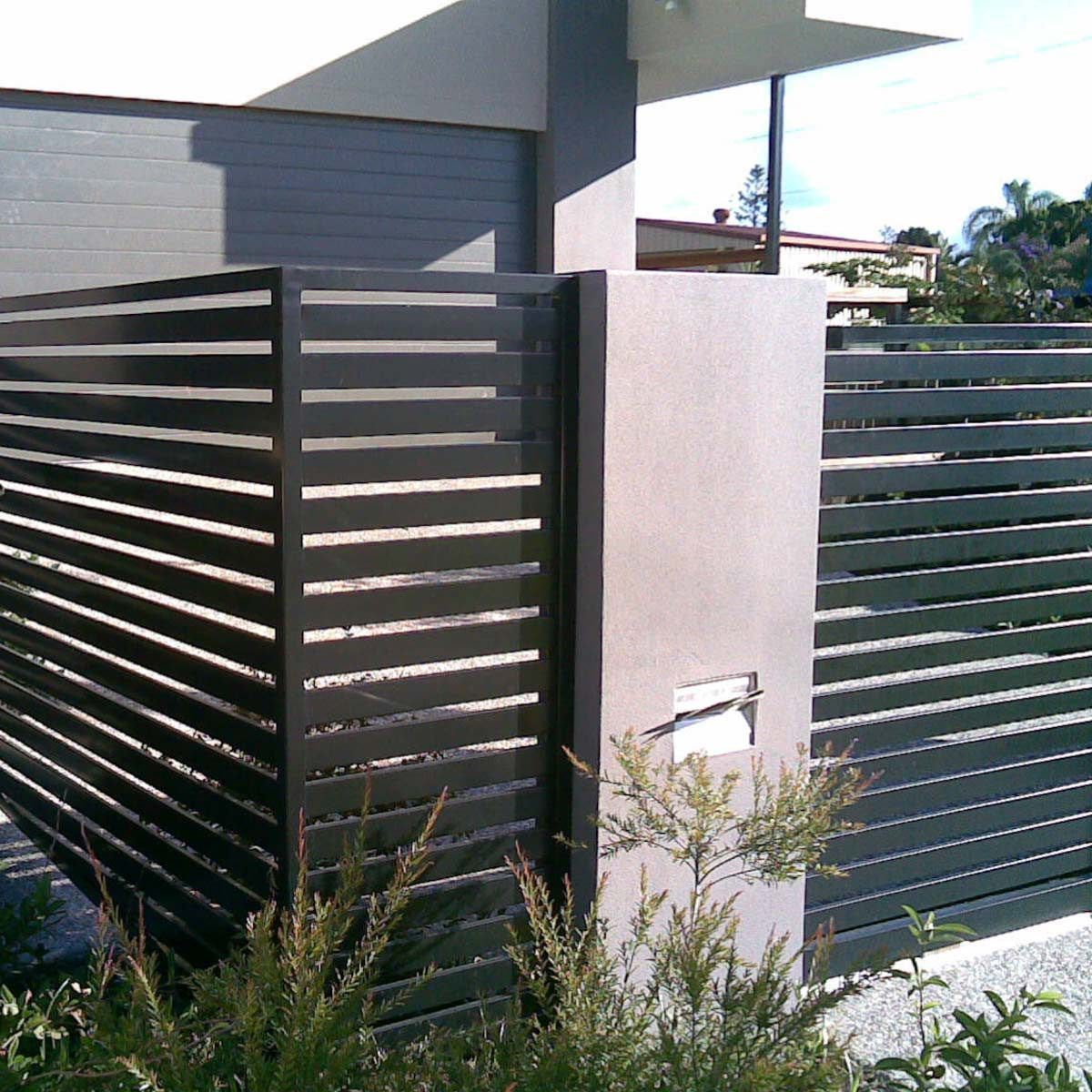 Black Horizontal Slats Fence