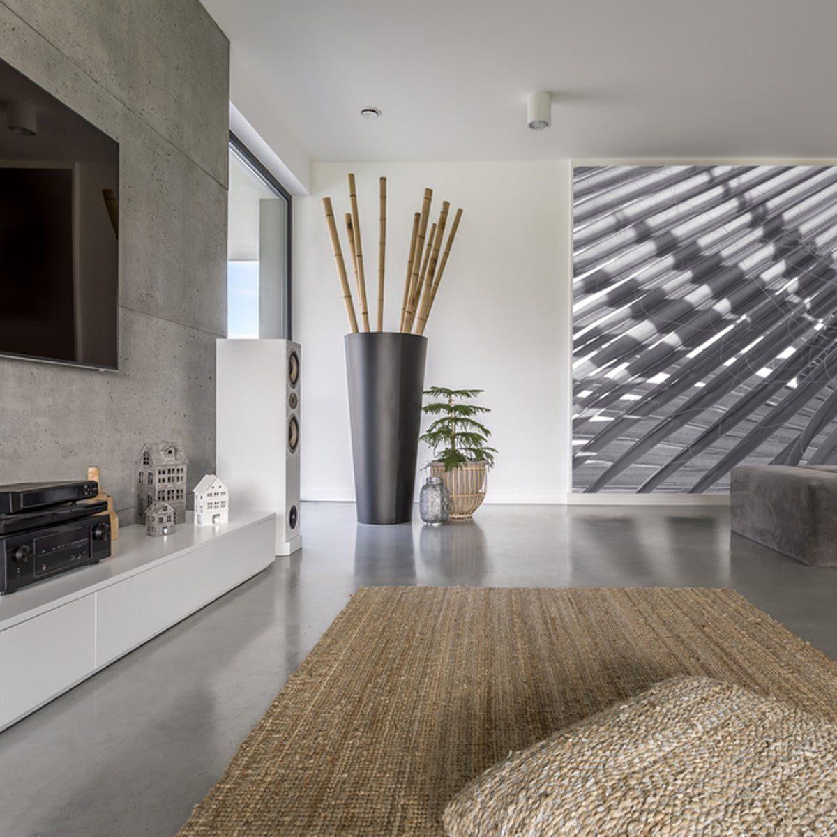 minimalist living room fireplace