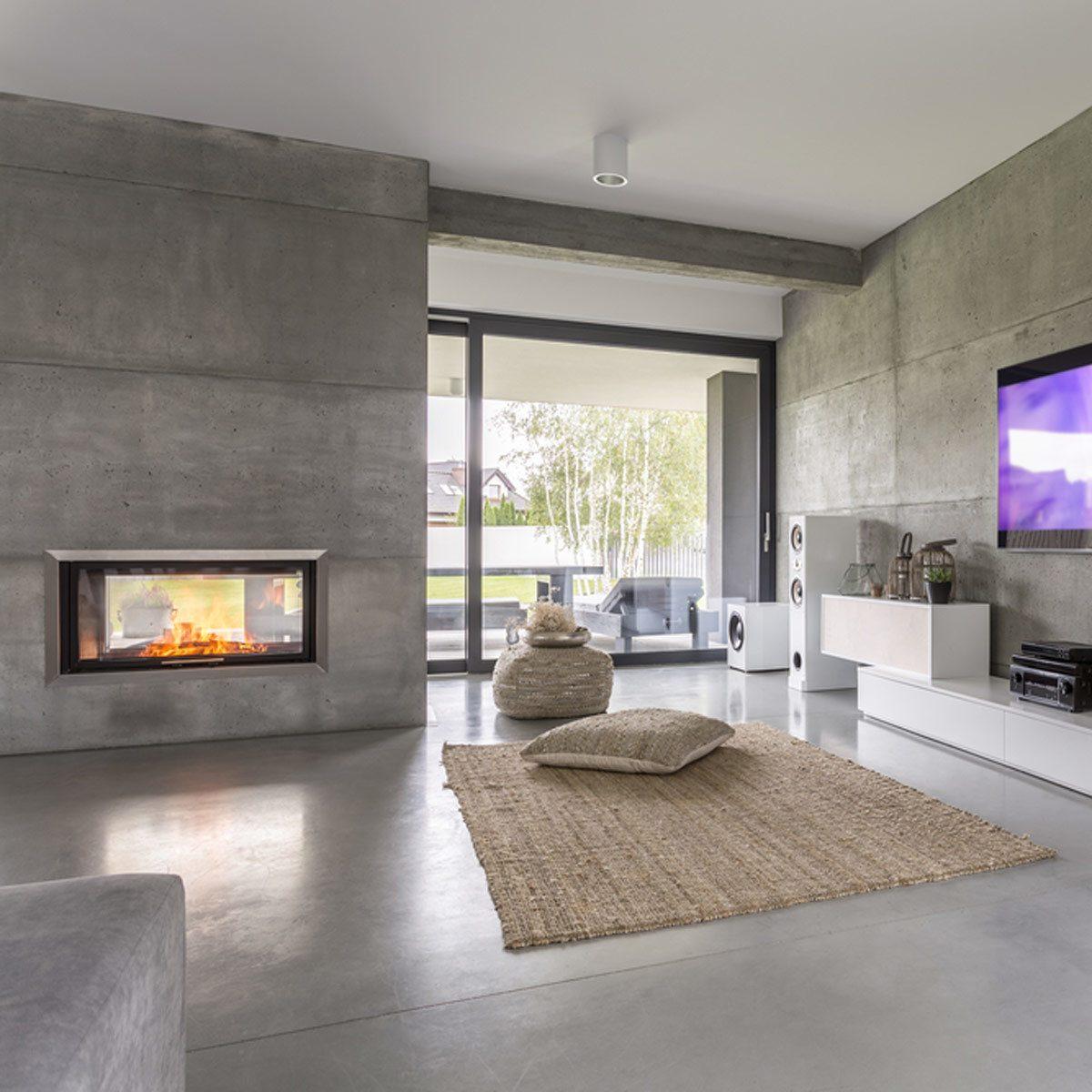 minimalist fireplace concrete