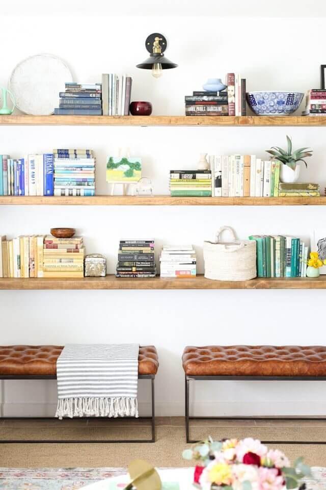 open bookshelves in living room