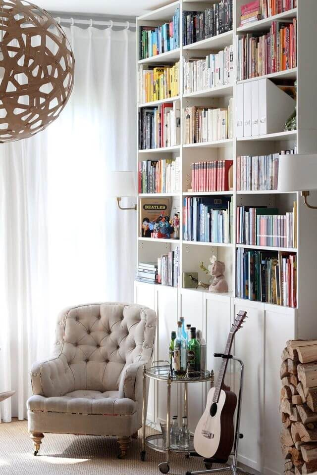 tall bookcase in living room