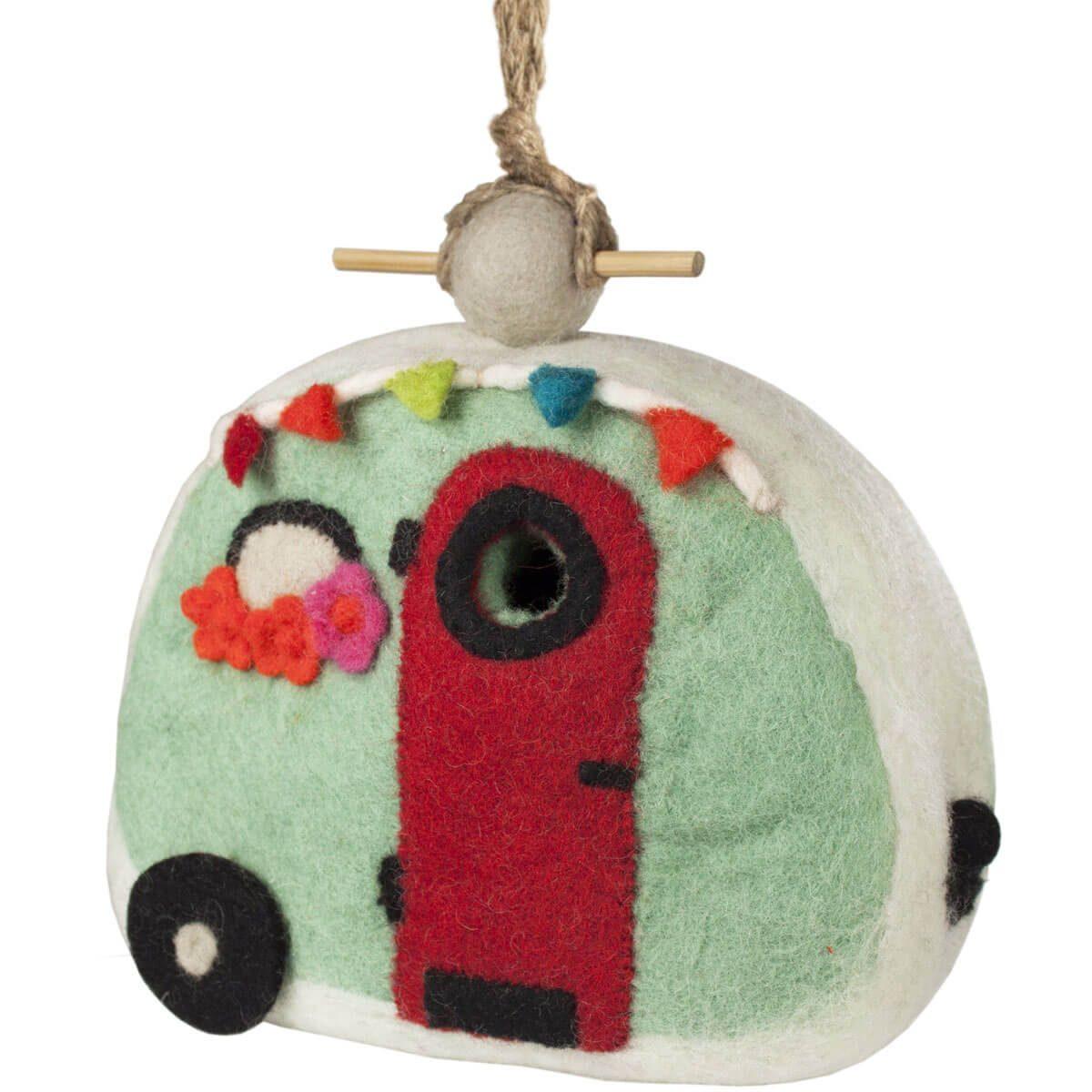 felt wool camper birdhouse