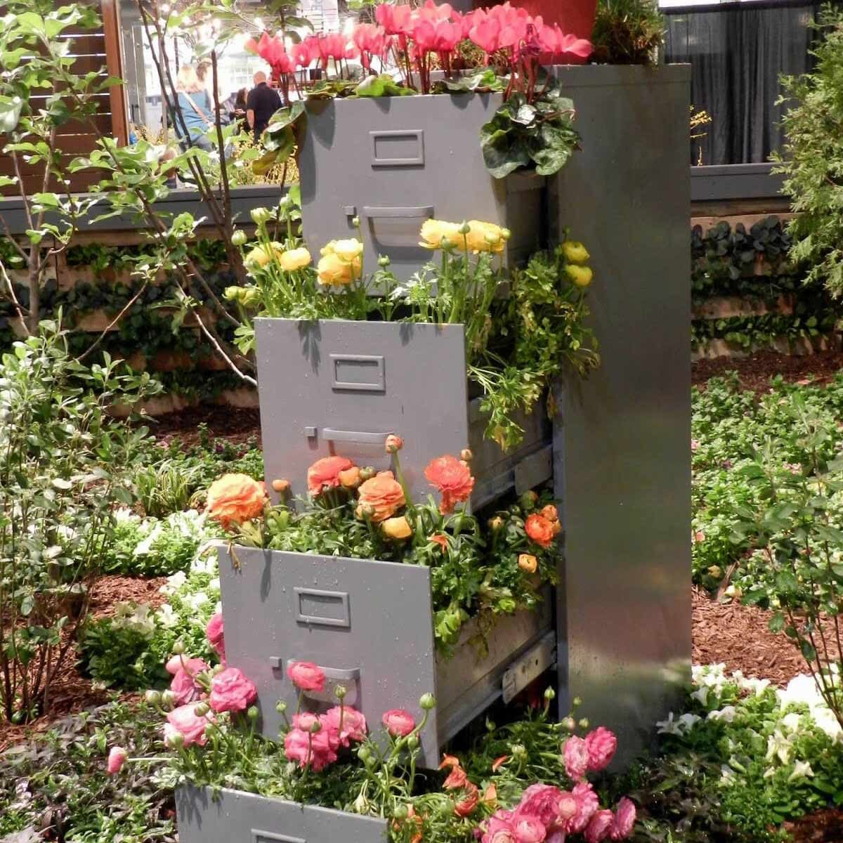 file cabinet flower tower