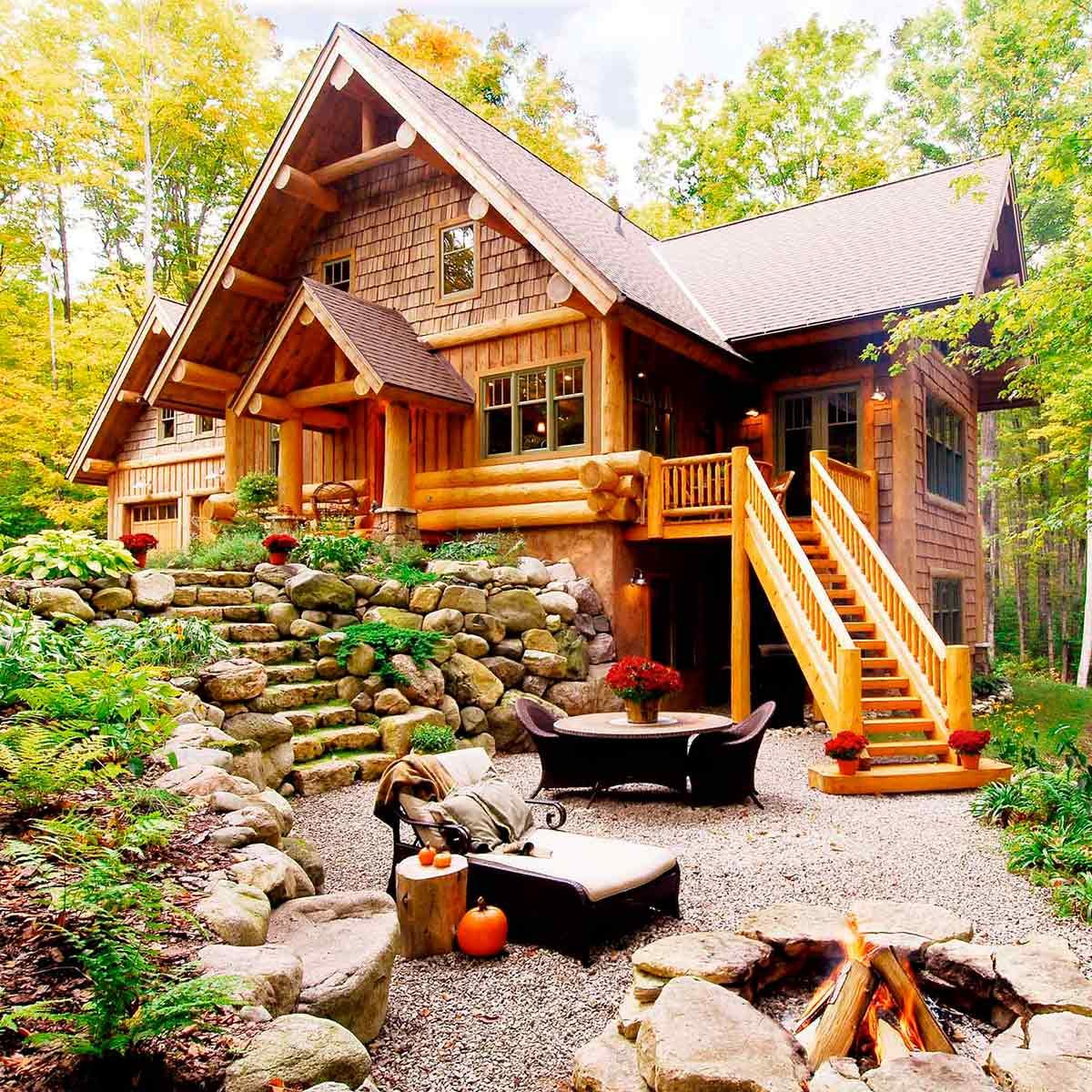 log cabin with landscaping