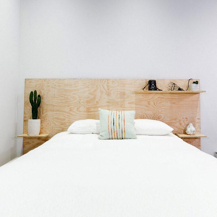 Minimalist Plywood Shelf Headboard