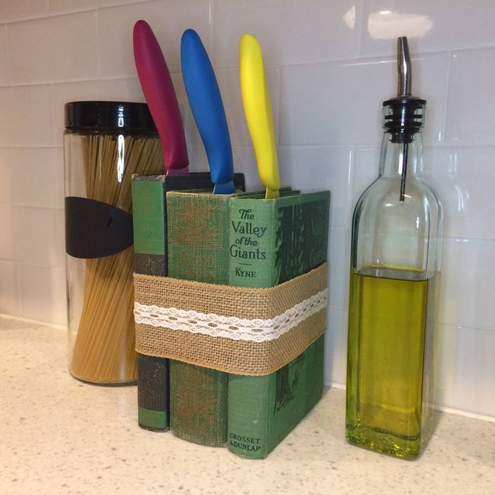 knife block made from old books