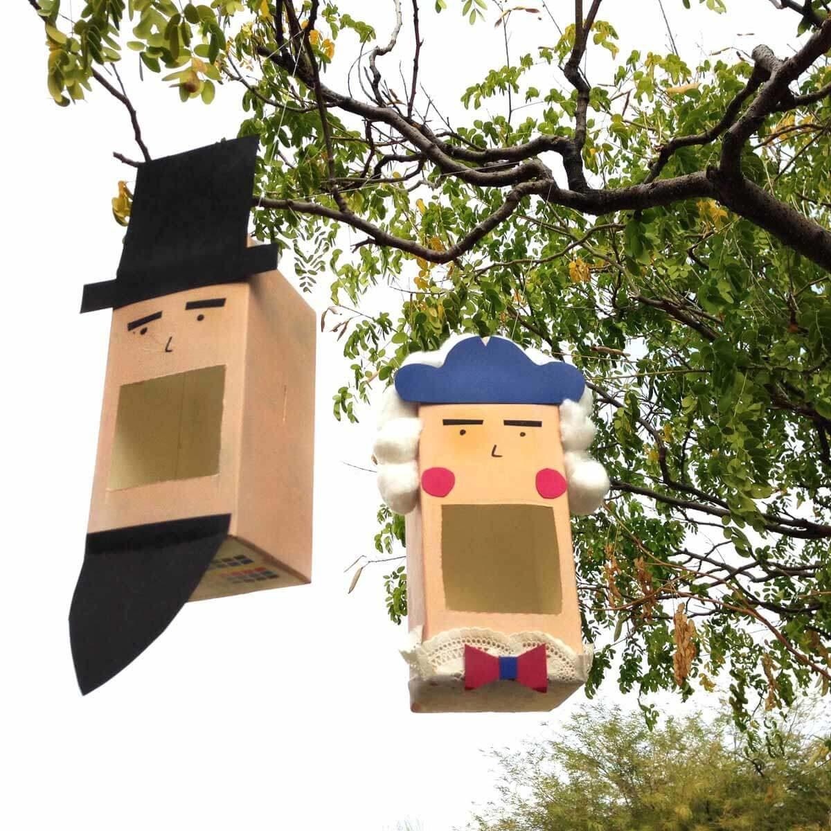 milk carton presidents birdhouse