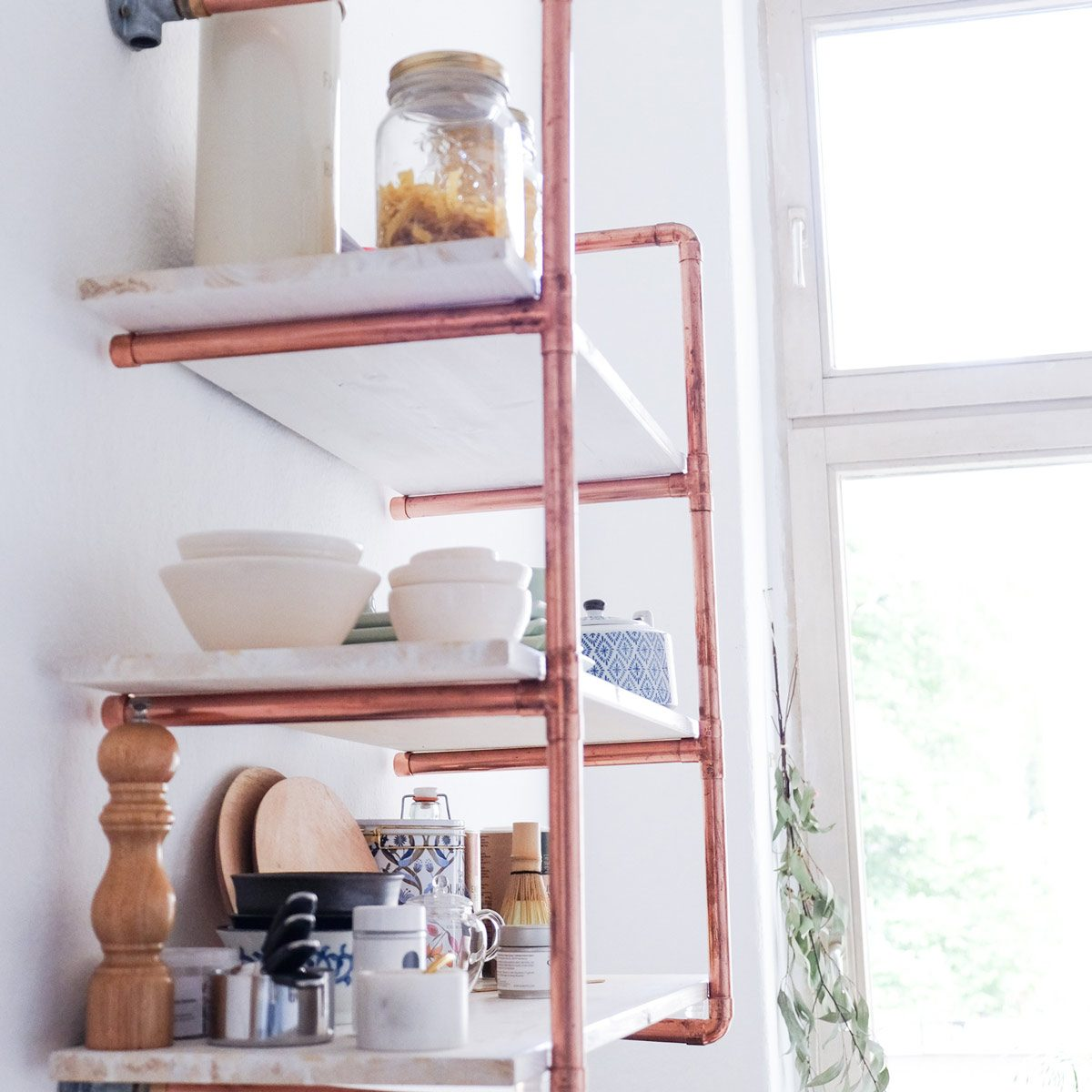 copper pipe shelf