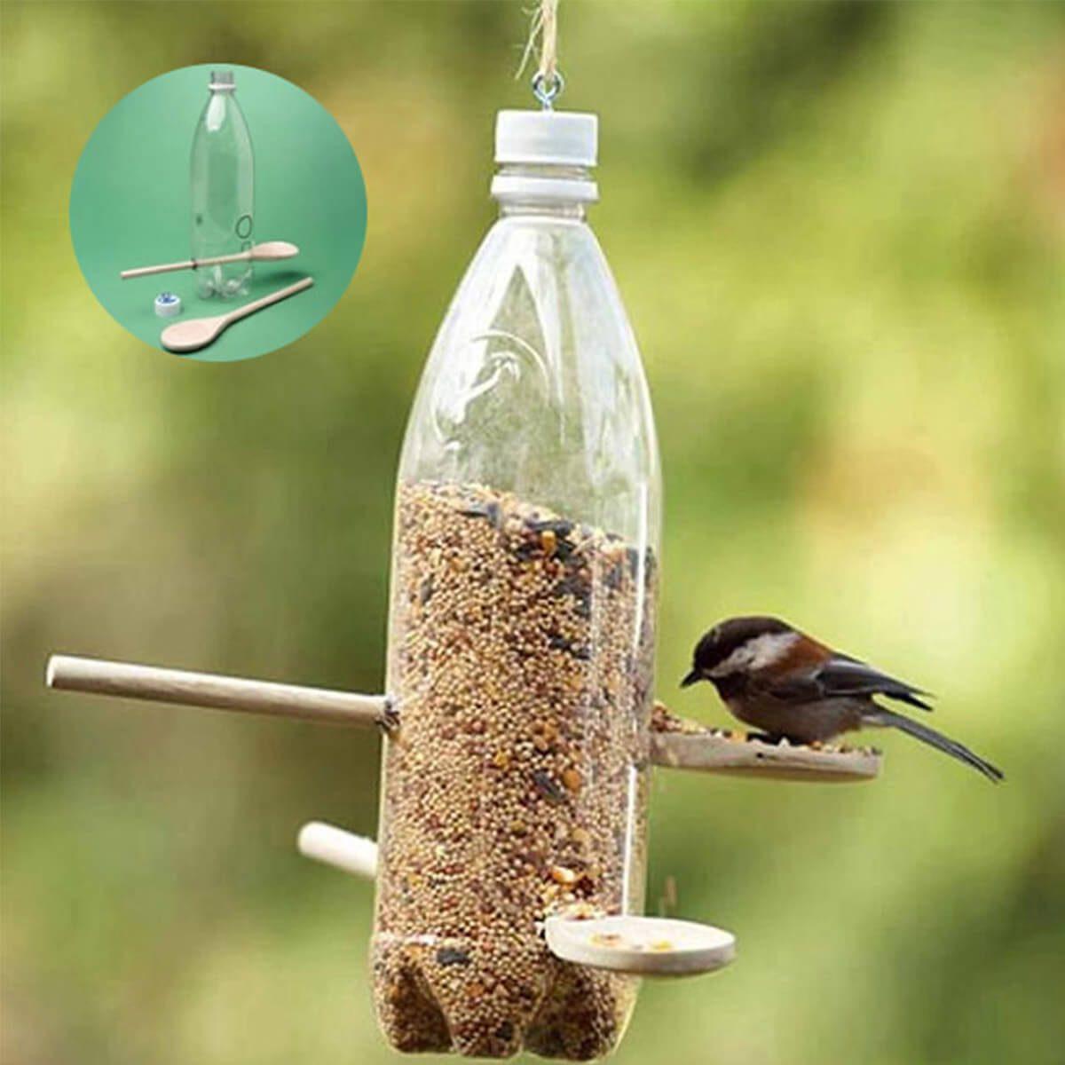 plastic bottle bird feeder collage