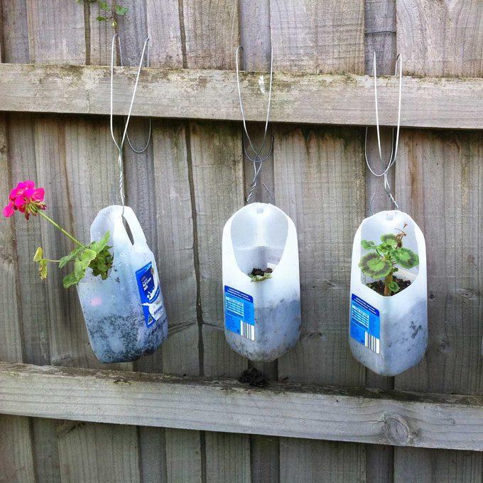 plastic milk jug flower planters