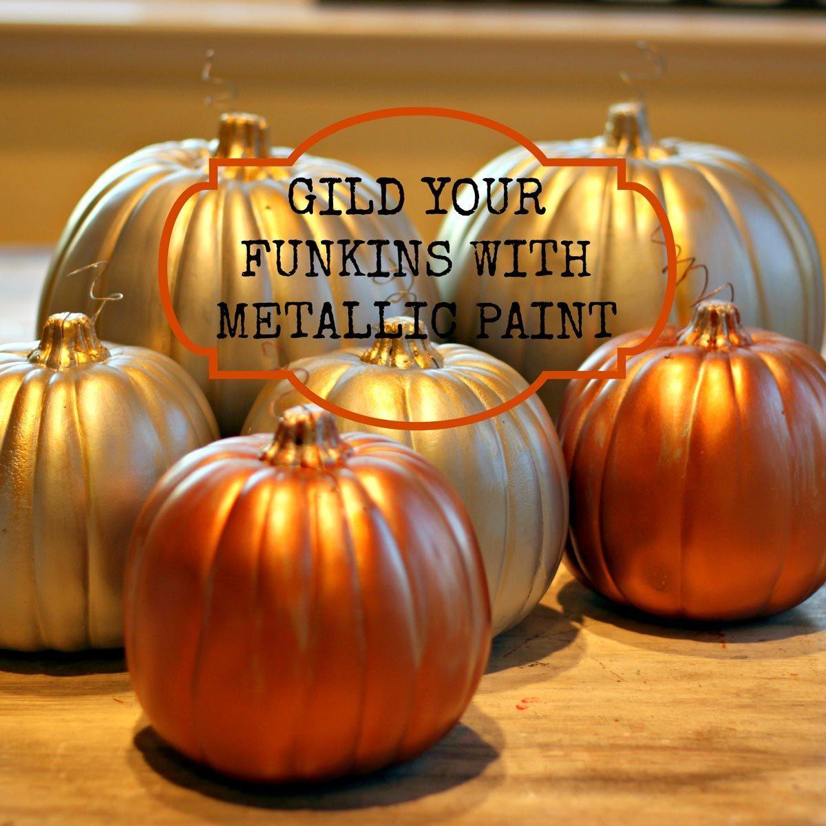 seasonal decorations metallic pumpkin
