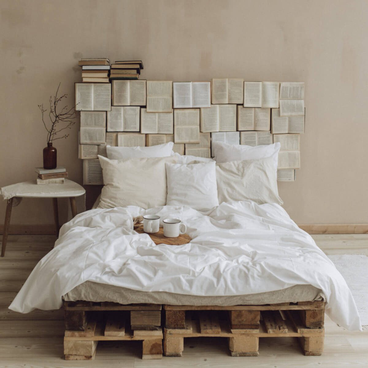 Construct an Affordable Pallet Bed books headboard