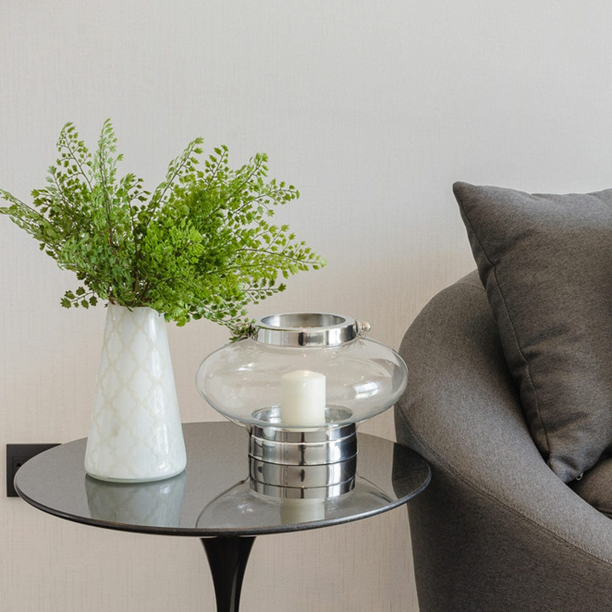 side table with plant