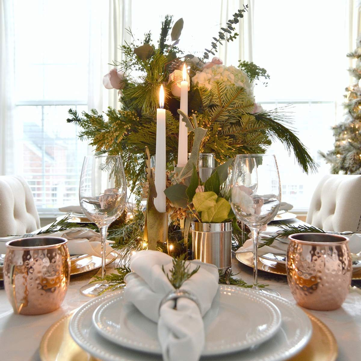 tablescape copper mugs