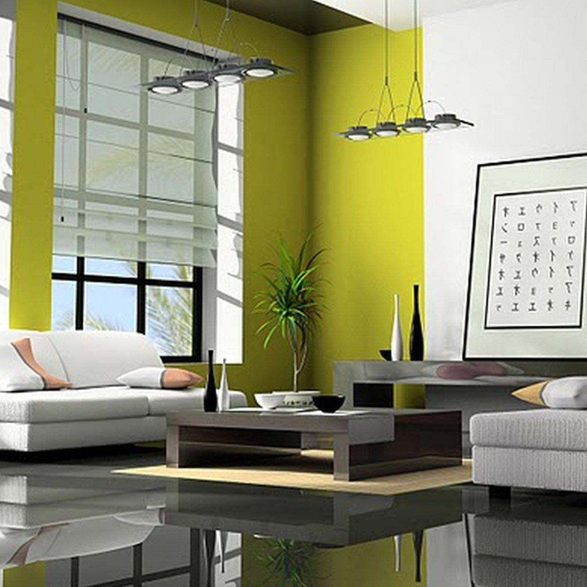 tech green walls living room