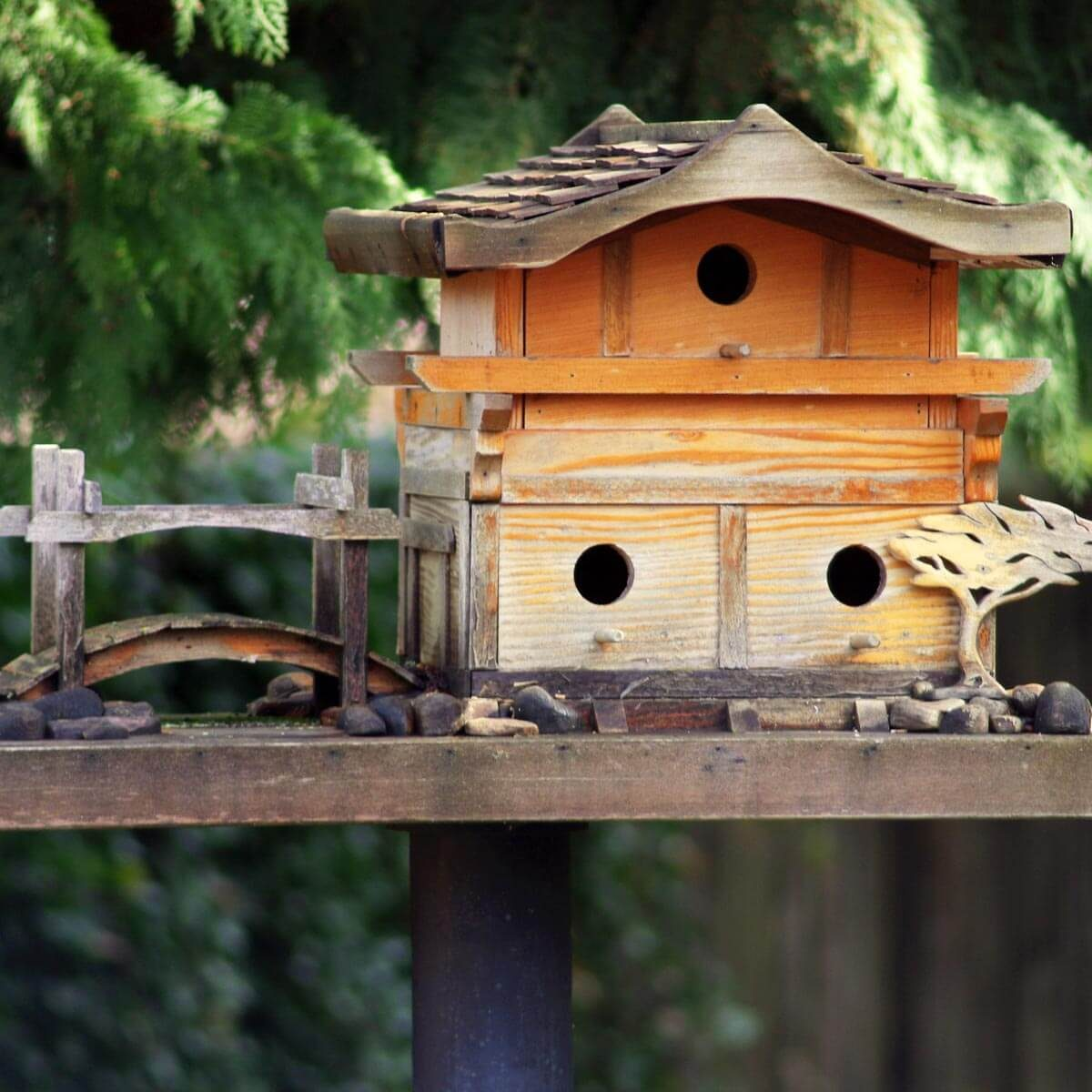 two story asian birdhouse