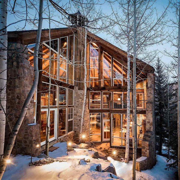 skiing log cabin